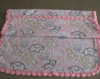Fleece baby blanket with crocheted edge