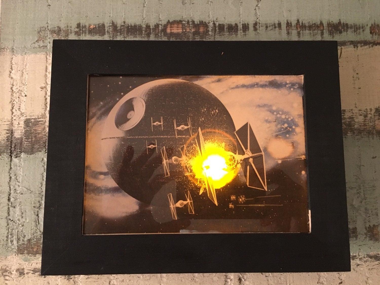 Star Wars Wall Decor Lights : Star Wars light up art print in 5x7 shadow box frame wall