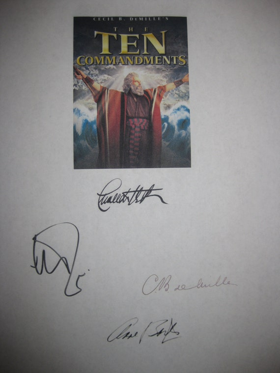 The Ten Commandments Signed Script Film Movie Screenplay X4 Autographs Charlton Heston Yul Brynner Anne Baxter Cecil B. DeMille signatures