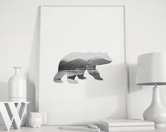 Bear Art Print, Black Bear Decor, Bear Art, Black Bear, Digital Art, Black Bear Wall Art, Printable Artwork, Bear Wall Art, nursery decor
