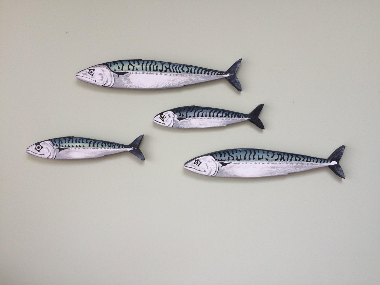 Mackerel fish wall art hangings shoal 4 fish for Fish wall hanging