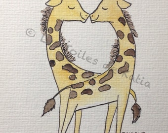 Love, love giraffes, watercolour format map postcard 10 X 15
