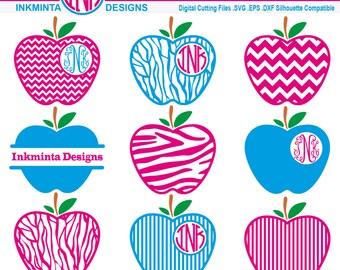 Apple Monogram SVG  , Frame cut files,Monogram apple design file - apple clip art