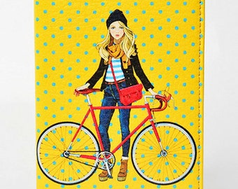 Yellow cycling passport cover eco leather holder with bicycle Young girl with bike print