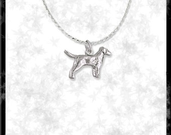 "Golden Retriever Sterling Silver Pendant with 18"" Long 3mm Diamond Cut Sterling Rope Necklace"