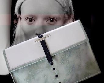 White/mint python purse