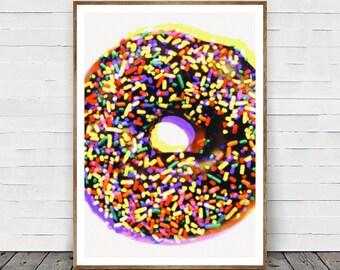 Donut Art Print, Donut Wall Art, Food Art Print, Pop Art, Nursery Art Print Gift, Room Decor, Doughnut Print, Warhol Style Home Decor