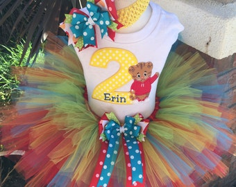Daniel Tiger Birthday Tutu Outfit Dress Set Handmade 1st 2nd 3rd in Primary Colors