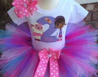 Doc McStuffins and Lambie Birthday Tutu Outfit Dress Set Handmade 1st 2nd 3rd in Lavender Pastels