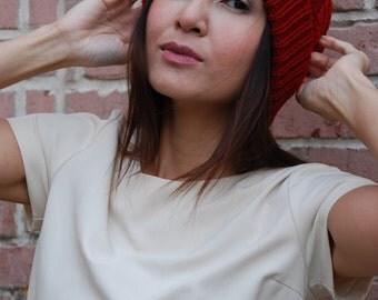 Knit Beanie Pom Pom Hat Winter Hat Knit Hat Knitted Beanie Slouchy Beanie Slouchy Hat Hand Knit Beanie Chunky Knit Beanie Winter Beanie