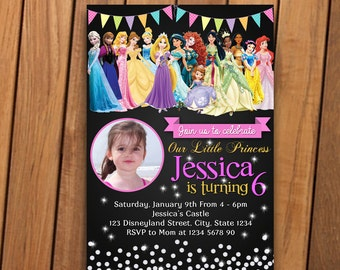 Princess - Princess Invitation - Princess birthday invitation - Princess invitation printable - Princess invites - with photo