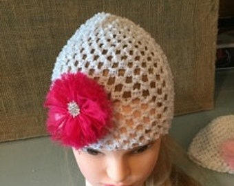 White Beanie with Hot Pink Flower