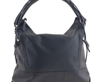 Leather Shoulder Bag - Blue - JO982