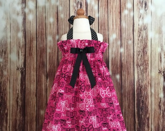 Hot Pink and Black sundress with bows designs,  Sundress halter style Hot Pink and black