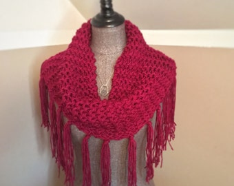 Berry cowl scarf with fringe hand knit