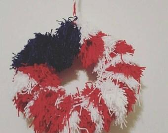 American Flag/ Fourth of July Yarn Wreath