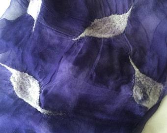 Nuno felted scarf of chiffon silk with dyed wool