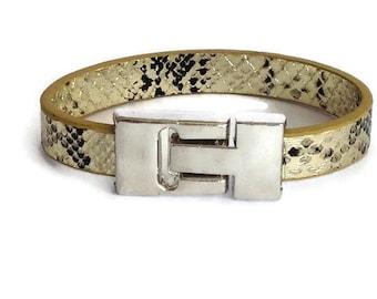 Gold Leather Bracelet, Faux leather snakeskin bracelet, contemporary, modern, minimalist, indigo eve jewellery