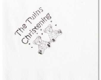 Christening Napkins - Twins -  Teddy - Pack of 50 - Foil printed- colour & size choice - FREE UK SHIPPING!