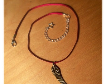 Gold Feather and Red Ribbon Extendable Choker | Handmade