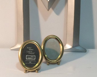 vintage pair of matching, adorable, brass oval picture frames