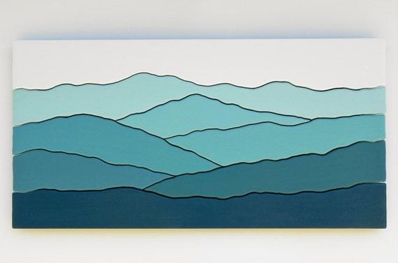 Mountain scene wood wall art /Maple, cherry, paint/
