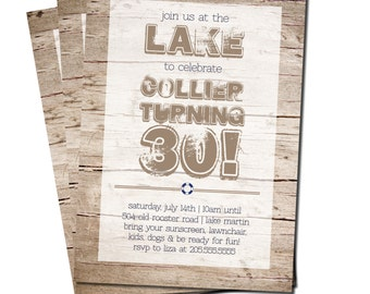 Printable! Rustic Lake Birthday Party Invitation 5x7