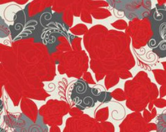 Fabric by the yard - Khristian A Howell - Rendezvous Roses in Love - Red & Gray