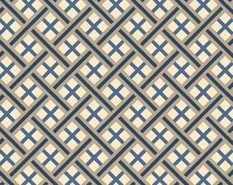SALE Fabric - Quilting Treasures - Imperial - Trellis - Denim - Cotton fabric by the yard