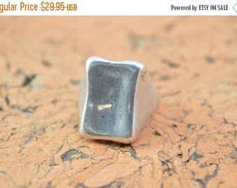 1 Day Sale Simple Curved Rectangular Ring Size 8 Sterling Silver 20g Vintage Estate