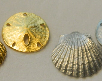 Nautical Sand Dollar, Scallop Stud Earrings
