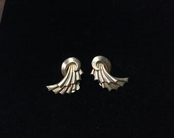 Vintage Coro Clip Earings, Goldtone