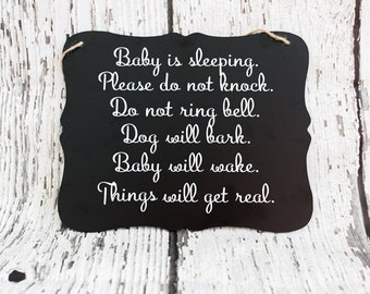 Baby Sleeping Sign // Please Do Not Knock Sign // Baby Sign