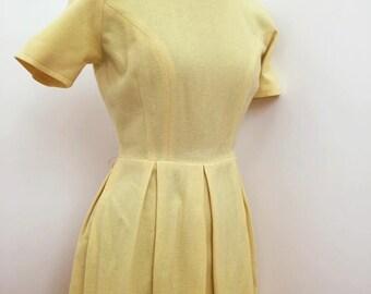 60s / 1960s Bobbie Brooks Wool Dress / Yellow Dress / vintage