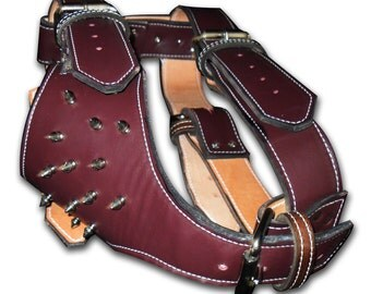 Leather Dog Harness with Spikes