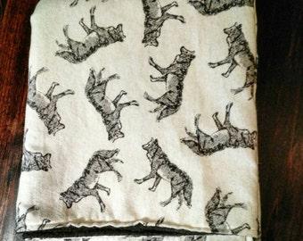 Baby Blanket Wolf, Flannel and Fleece Blanket, Stroller Blanket, Gender Neutral Blanket, Wolf Blanket, Security Blanket, Newborn Blanket