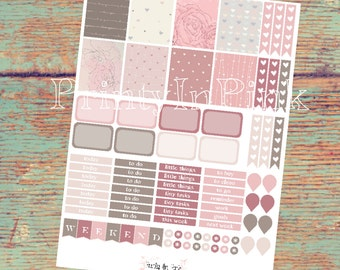Soft and Sweet Weekly Kit - Valentine's Day Printable Set ECLP Planner Stickers