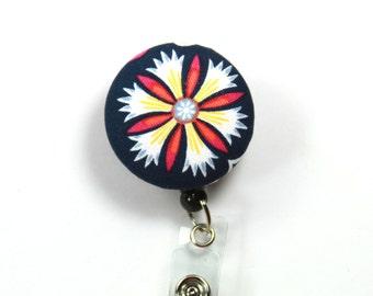 FLOWER Badge Reel, Retractable badge Reel, Floral badge Button