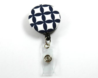 FLOWERS Fabric Badge Reel, Retractable Badge Reel, Button Badge Holder