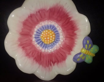 Colourful ceramic flower and butterfly bowl