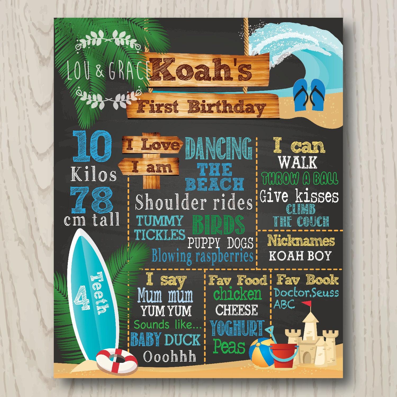 Birthday Board Beach Surf Theme DIGITAL FILE First Birthday