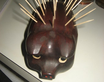 Antique Wood Porcupine Toothpick Holder
