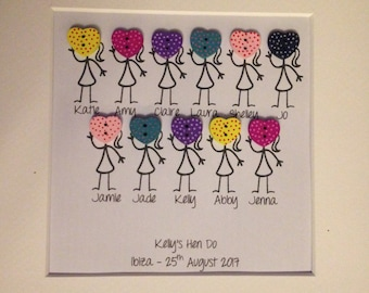 Personalised Button Frame Ideal for a Hen Do Gift