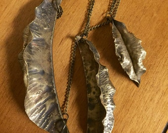 Brass leaf charm and chain necklaces