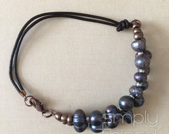 Smokey Pearl Double Strand Bracelet