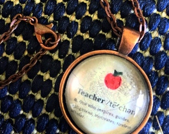 Glass dome, copper Teacher gift necklace