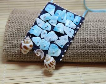 Jeans Boho Pendant,Shell necklace, Blue  necklace, Jeans Necklace, Bohemian Jewelry