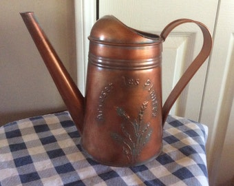 """Copper verde watering hand painted can with raised lettering French word """" Arroser les plantes"""" Brass painted watering can , jug, pot"""