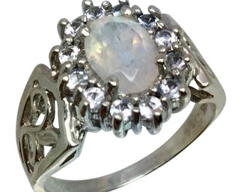 Faceted Moonstone & Aquamarine 14k Ring, W-Y-R, Free Sizing