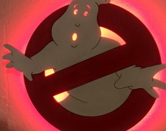 Ghost Buster Wooden LED lighted Wall Light - FREE SHIPPING